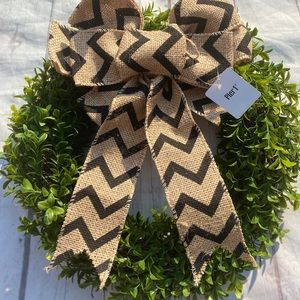 New Boxwood Wreath with Pier 1 Burlap Clip on Bow